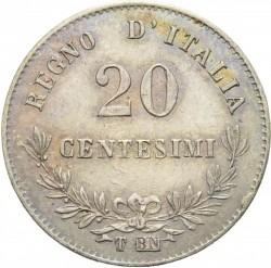 Coin > 20centesimi, 1867 - Italy  - reverse
