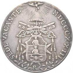 """Монета > 1скудо, 1823 - Папская область  (Отметка монетного двора: """"R"""" - Рим) - obverse"""