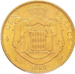 Monedă > 100franci, 1882-1886 - Monaco  - reverse
