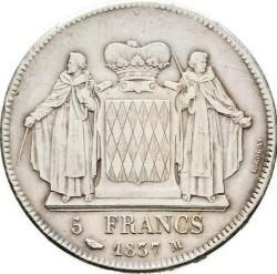 Minca > 5francs, 1837 - Monako  - reverse