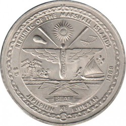 "Moneta > 5dollari, 1988 - Marshall (Isole)  (Space Shuttle ""Discovery"") - obverse"