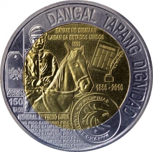 Philippines 2016 Heneral Antonio Luna 10 Piso Bi-metallic Coin UNC