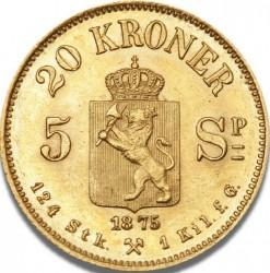 Moneta > 20kronų, 1874-1875 - Norvegija  - reverse