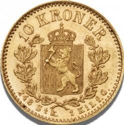 Moneda > 10kroner, 1877-1902 - Noruega  - reverse