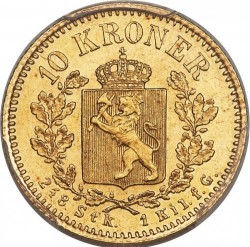 Moneta > 10kronų, 1877-1902 - Norvegija  - reverse