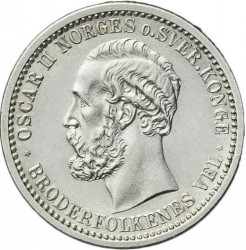 Coin > 50ore, 1877-1904 - Norway  - obverse
