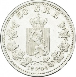 Coin > 50ore, 1877-1904 - Norway  - reverse