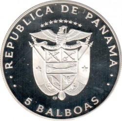 Moneta > 5balboas, 1982 - Panama  (XII Coppa del Mondo FIFA, Spagna 1982) - obverse