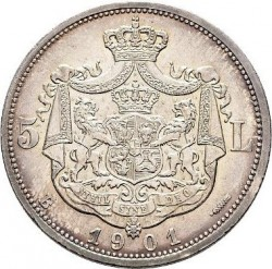 錢幣 > 5列伊, 1901 - 羅馬尼亞  - reverse