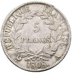 Münze > 5Franken, 1807-1808 - Frankreich  - reverse