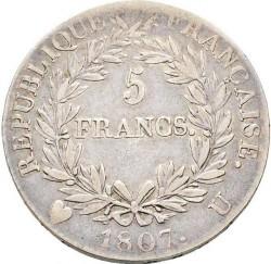 سکه > 5فرانک, 1807 - فرانسه  (Old type: big portrait, w/o wreath) - reverse