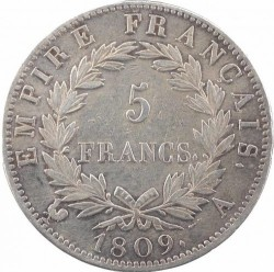 מטבע > 5פרנק, 1809-1814 - צרפת  - reverse