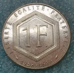 Coin > 1 franc, 1988 - France  (30th Anniversary - Fifth Republic) - obverse