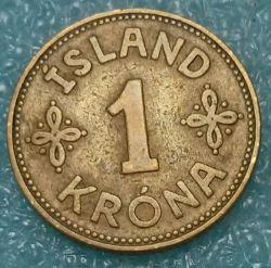 Coin > 1krona, 1925-1940 - Iceland  - reverse