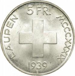 Moneta > 5franchi, 1939 - Svizzera  (600° Anniversario - Battaglia di Laupen) - reverse