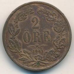 Monedă > 2ore, 1860-1872 - Suedia  - reverse