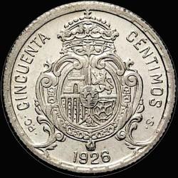 العملة > 50سنتيمو, 1926 - إسبانيا  - reverse