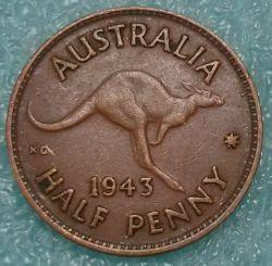 Moneda > ½penique, 1939-1948 - Australia  - reverse