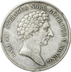 Монета > 1ригсдалерспесие, 1842 - Швеция  (Shield w/o lions on reverse) - obverse