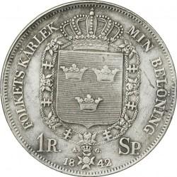 Монета > 1ригсдалерспесие, 1842 - Швеция  (Shield w/o lions on reverse) - reverse