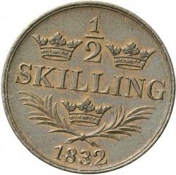 Монета > ½скилинг, 1832 - Швеция  - reverse