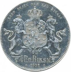 Monedă > 4riksdaleririksmynt, 1871 - Suedia  - reverse