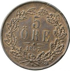 Monedă > 5ore, 1857-1858 - Suedia  - reverse