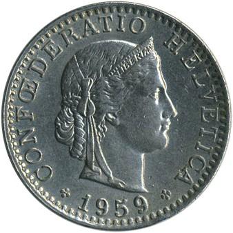 20 Rappen 1959 Schweiz Münzen Wert Ucoinnet