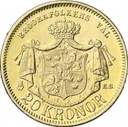 Coin > 20kronor, 1876-1877 - Sweden  - reverse