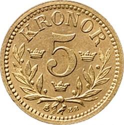 Münze > 5Kronen, 1881-1899 - Schweden   - reverse