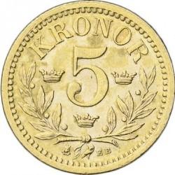 錢幣 > 5克朗, 1901 - 瑞典  - reverse