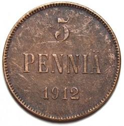Moneda > 5penniä, 1912 - Finlandia  - reverse