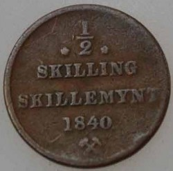 Moneda > ½skilling, 1837-1841 - Noruega  - obverse