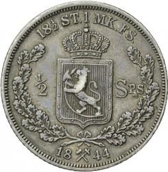 Moneda > ½speciedaler, 1844 - Noruega  - reverse