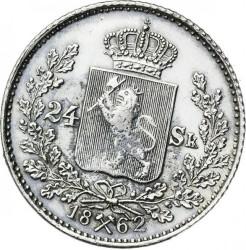 Moneda > 24skilling, 1862 - Noruega  - reverse