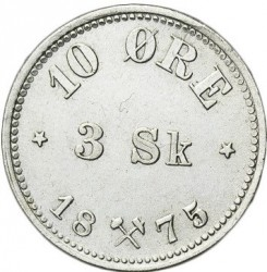 Coin > 10ore, 1874-1875 - Norway  - reverse