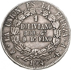 Moneta > 1bolivianas, 1864-1867 - Bolivija  - reverse