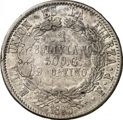Mynt > 1boliviano, 1864-1867 - Bolivia  - reverse