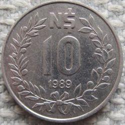 Moneda > 10nuevospesos, 1989 - Uruguay  - obverse