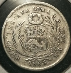 Münze > ½Dinero, 1863-1864 - Peru  - obverse