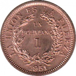 Moneda > 1boliviano, 1951 - Bolivia  - obverse