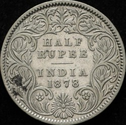 Кованица > ½рупија, 1877-1899 - Индија - Британија  - reverse