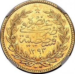 Moneta > 500kurušų, 1876 - Osmanų imperija  (Senas tipas: uogos dešinėje virš tugros) - reverse