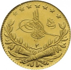 "Pièce > 25 kurus, 1909 - Empire ottoman  (""Reshat"" right of Toughra; Stars) - obverse"