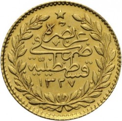 "Pièce > 25 kurus, 1909 - Empire ottoman  (""Reshat"" right of Toughra; Stars) - reverse"