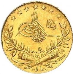 """Монета > 25курушів, 1909 - Османська імперія  (""""Reshat"""" праворуч від тугри; Зірки) - obverse"""