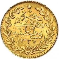 """Монета > 25курушів, 1909 - Османська імперія  (""""Reshat"""" праворуч від тугри; Зірки) - reverse"""