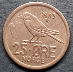Mynt > 25 ore, 1963 - Norge  - reverse
