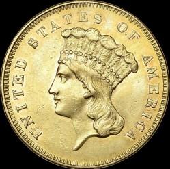 Munt > 3dollars, 1854-1889 - Verenigde Staten  - obverse