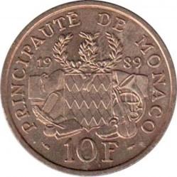 Moneda > 10francos, 1989 - Mónaco  (25 aniversario - Muerte del Príncipe Pedro) - reverse